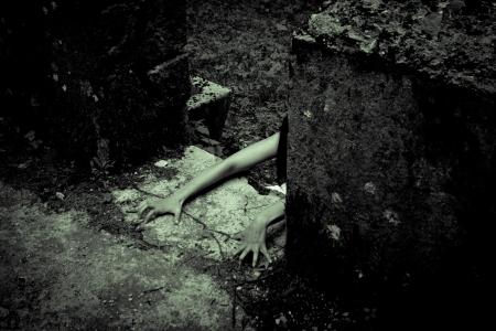 creepy: Horror scene of a scary woman Stock Photo