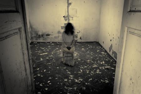 怖い女性の恐怖シーン 写真素材
