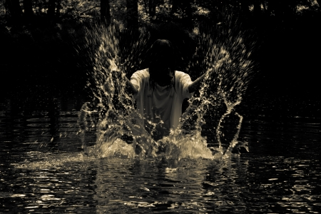 Horror Scene - the woman in the swamp photo