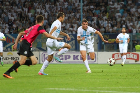 cfc: RIJEKA, CROATIA SEPTEMBER 2 soccer derby match NK Rijeka  white  vs  NK Lokomotiva  black-pink  on September 2, 2013 in Rijeka