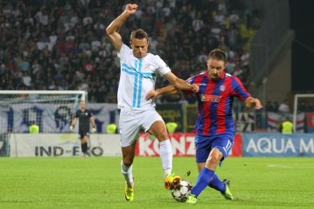 delirious: RIJEKA, CROATIA SEPTEMBER 28  soccer derby match NK Rijeka  white  vs  NK Hajduk  blue-red  on September 28, 2013 in Rijeka