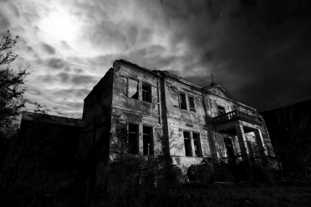 dark forest: Abandoned spooky hotel at night
