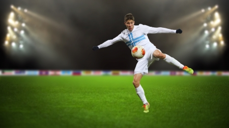 Soccer player in the action