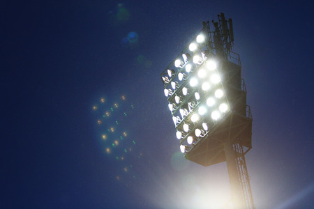 stadium lights: Stadium lights against dark night sky background