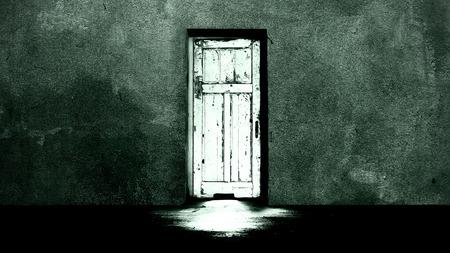 Horror concept, mysterious door