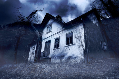 haunted house: Abandoned Haunted House Stock Photo