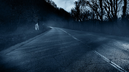 the old road: Abandoned horror house Stock Photo