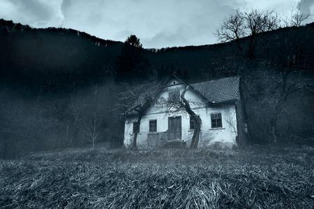 Horror scene of old rustic house in the forest Reklamní fotografie