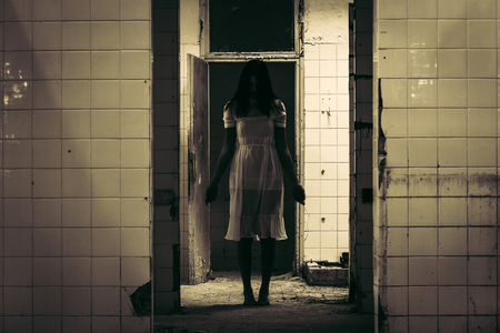Horror scene of haunted woman