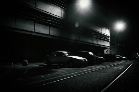 Horror scene of a dark street at night Stock Photo