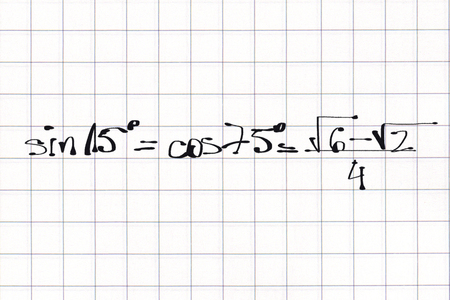 Mathematic examples of formula, free hand written on squared paper Banco de Imagens