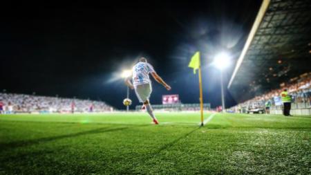 RIJEKA, CROATIA - August 12, 2018: Soccer player kick the balll from corner in the match Rijeka against Hajduk (1st Croatian Football League) at HNK Rijeka Stadium 에디토리얼