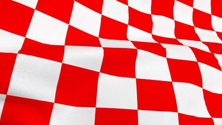 Close up of Croatian red and white check board waving flag Stock Photo
