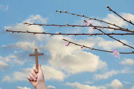 easter cross: Easter religious concept. A child hand sustains a cross on a sky and peach flowers background.