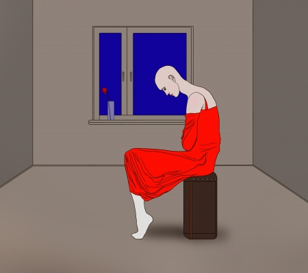 bald girl: melancholy ,  bald girl in a red dress sitting on a suitcase in a gray room illustration