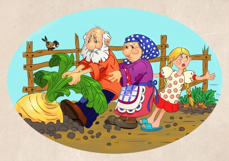 granddaughter: people pull turnips out of the ground grandfather, grandmother and granddaughter pull turnips out of the groundturnip illustration  Stock Photo