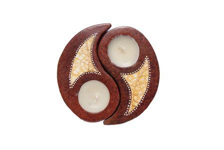 inwardly: Candle Yin Yang, brown circle and gold inwardly