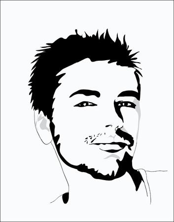 Portret van de jonge knappe Vector Illustratie