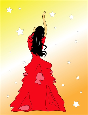 Girl in the red dress dances Vector