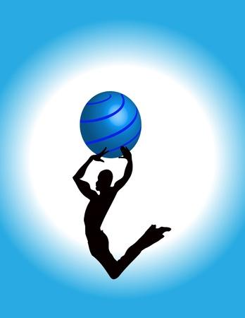 Jumping Guy dancing bouncing high silhouette photo