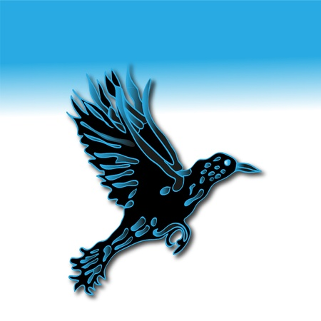 Silhouette of crow in the dark-blue tones