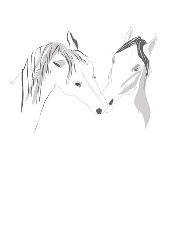 fondle: pair Horses stand tenderly touching