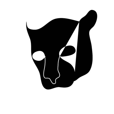 black silhouette of wild cat Vector