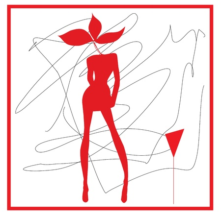 Abstraction WOMAN in red tones and wine glass photo