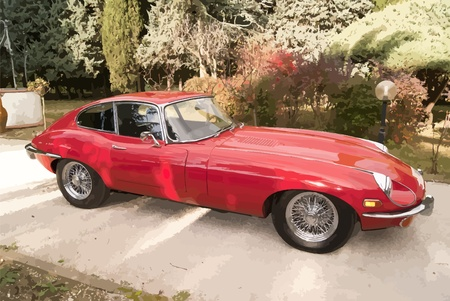 corvette: Red Car shining on the background of trees