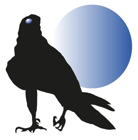 vulture against a blue moon Illustration