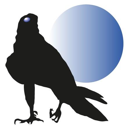 talon: vulture against a blue moon Illustration