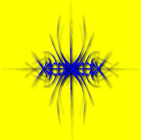 Fantastic BLUE Abstraction of lines on yellow