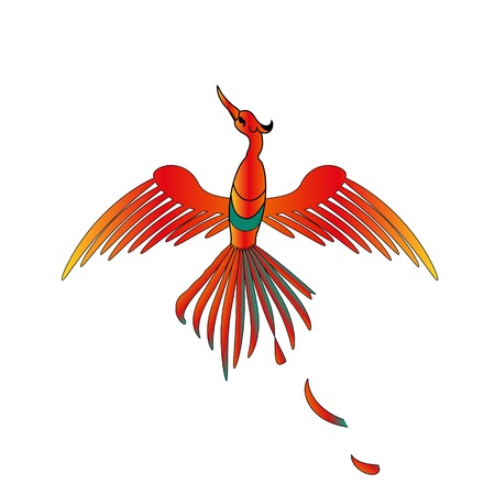 mysterious golden bird with feathers of fire Stock Vector - 10667924
