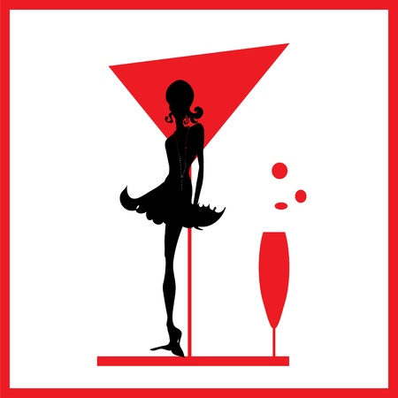 Abstraction WOMAN silhouette black and red glass 일러스트