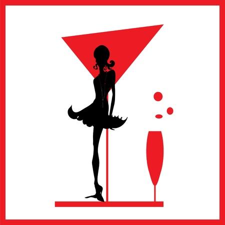 bocal: DONNA astrazione silhouette vetro nero e rosso