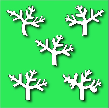 Collection of Branch trees silhouettes Vector