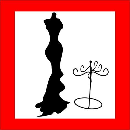 실루엣 여성 마네킹 및 검은 철 걸이