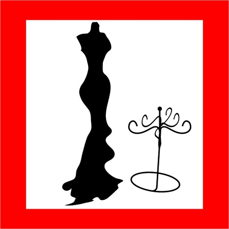 Silhouette female mannequin and black iron hanger Vector