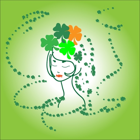 Portrait beautiful green girl Ireland shamrocks Vector