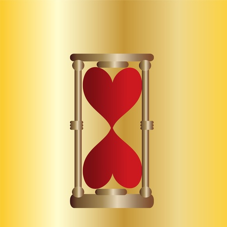 Hourglasses gold with red hearts against  Illustration