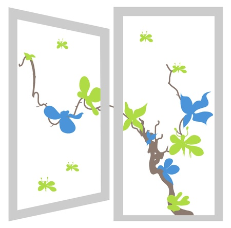 open window bush blue and green flowers Stock Vector - 12482697