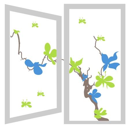open window bush blue and green flowers Vector