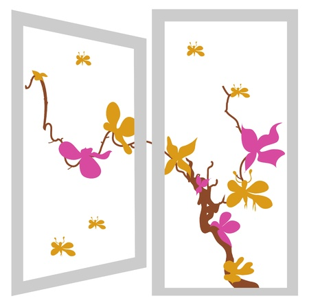 open window bush orange and violet flowers Vector