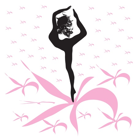 Silhouette of young woman dances on pink flowers Vector