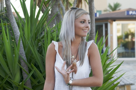 Young sexual girl blond and flower Stock Photo - 13126434