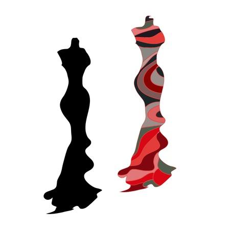 Silhouette vrouwelijke mannequin en zwart ijzeren hanger