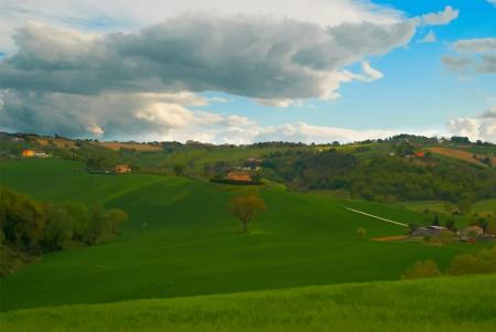 Green field of  golf Italy Vector