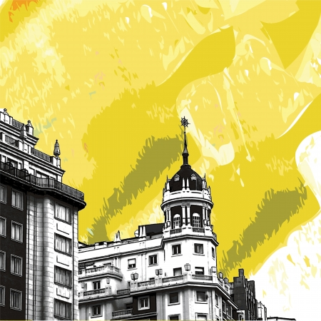 Historic buildings with lace fronts of Madrid Vector