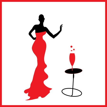 Abstraction WOMAN silhouette black and red glass Ilustração