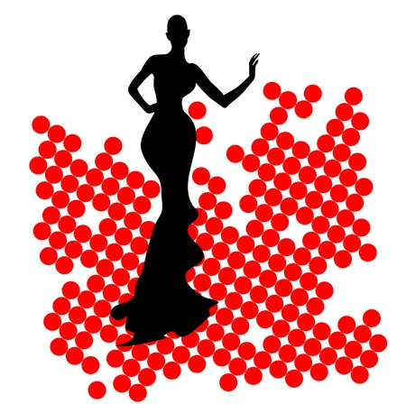 Abstraction WOMAN silhouette black and red glass Stock Vector - 14477762